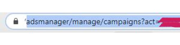 identificador de tu cuenta publicitaria de facebook en URL