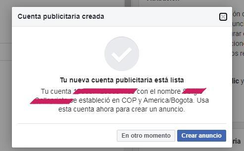 Tu cuenta publicitaria en Facebook está creada ahora